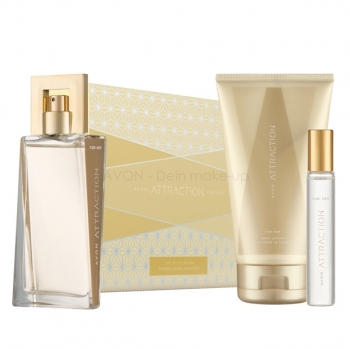 AVON Attraction 4-teiliges Duft-Set mit EdP Spray, Körperlotion, Taschenspray & Geschenkbox