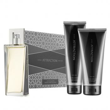 AVON Attraction 4-teiliges Duft-Set mit EdT Spray, Shampoo-Duschgel , Aftershave-Balsam & Geschenkbox