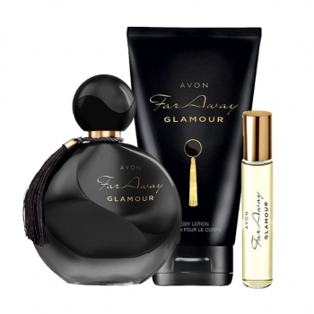 AVON Far Away GLAMOUR 3-teiliges Duft-Set mit Eau de Parfum Spray, Körperlotion & Taschenspray